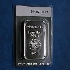 Silberbarren 100 Gramm Heraeus 999.9 Feinsilber 100g silverbar 100 g