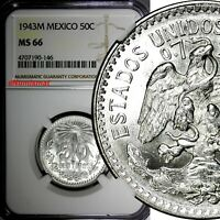 Mexico ESTADOS UNIDOS MEXICANOS Silver 1943 M 50 Centavos NGC MS66 KM# 447