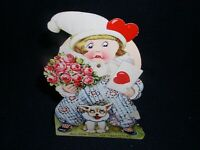 "Antique Mechanical Valentine Card ""All For You, My Love"" Rotating Face, 6"" Tall"