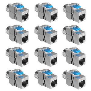 12x Keystone Modul CAT 8 Kabel 40 Gbit/s Metall Gehäuse geschirmt Snap In