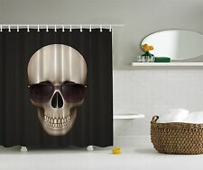 Skull Skeleton Halloween Decoration Black Fabric Shower Curtain Bathroom