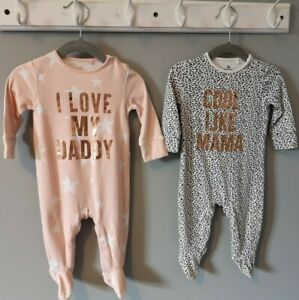 Baby Girl Clothes 2 Cool Mama Love Daddy Babygrow Sleepsuit Set 3-6 Months Next