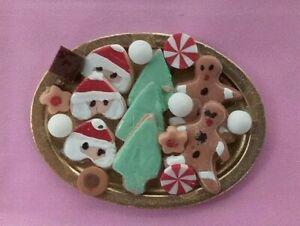 Dollhouse Miniatures Handcrafted Christmas Cookies on tray  1:12