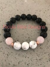 Aroma Therapy diffuser bracelet lava stone white Howlite/rose essential oil Rose