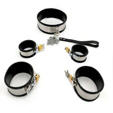 Stainless Steel Bondage Collar Wrist & Ankle Cuffs with Rubber Trim -Small/Large
