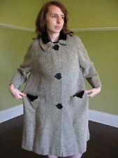 VTG 40s 50s Swing Coat BOND'S 5th Ave Bakelite Buttons Chunky Weave Wool S/M