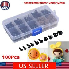 100Pcs Plastic Safety Eyes For Bear Stuffed Toys Animal Puppet Dolls 6 - 12mm US