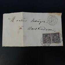 SAGE N°77 x2 DEVANT DE LETTRE COVER PARIS PL. DE LA BOURSE -> AMSTERDAM PAYS BAS