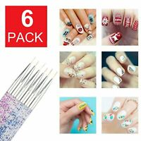 6-Pack Nail Art Pen Dotting Drawing Painting UV Gel Liner Polish Brush