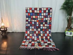 Moroccan Vintage Handmade Tribal Rug 3'2x5'8 Checkered Berber Red Blue Wool Rug