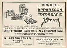 Z0828 Binocoli e Apparecchi Fotografici BUSCH - Pubblicità del 1929 - Advertis.