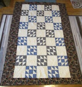 """New USA Hand Made Twin Quilt - Blue Black Cream 56"""" x 84"""" From Vintage Quilt Top"""