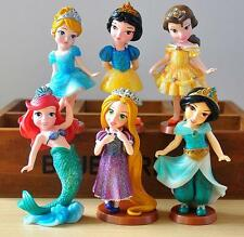 6pc Disney Sparkling Snow White Cinderella Belle Mini Figure Toy Collectibles Ca