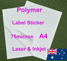20 X A4 75micr Polymer Sticker Self Adhesive Label Laser & Inkjet Print Paper