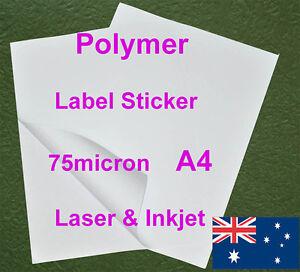 140 X A4 75micr Polymer Sticker Self Adhesive Label Laser & Inkjet Print Paper