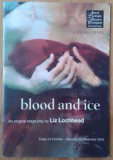 Blood and Ice programme Royal Lyceum Theatre Company Edinburgh 2003 Susan Coyle