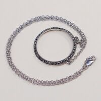 """15"""", Judith Jack 925 Sterling Silver Circle Chain Necklace W/ Marcasite Pendant"""