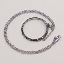 Circle Chain Necklace W/ Marcasite Pendant 15�, Judith Jack 925 Sterling Silver