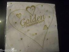 NAPKINS SERVIETTES 50TH GOLDEN WEDDING ANNIVERSARY qty 18 HEART cp