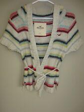 Hollister Chunky Knit BAJA Stripe Short Sleeve Beach Sweater Hoodie L Wrap Tie