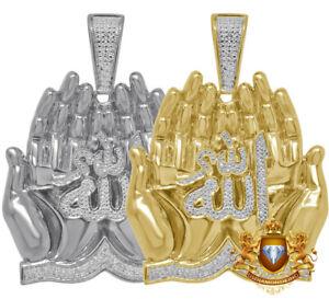 Real Genuine Diamond Praying Hand Allah God Muslim Pendent 10K Gold Finish Charm