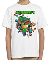 Minecraft t-shirt kids children's gamers long nose tdm creeper Steve 05