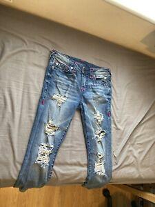 True Religion Halle Jeans Distressed Ripped Women's W30 L28 Skinny Stretch