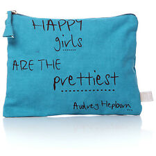 Script Make Up/Cosmetic Bag/Purse - Turquoise - Happy girls are the .....
