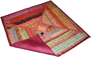Table runner table throw wall tapestry square sari multicolored patchwork beaded