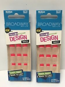 (2) KISS BROADWAY GLUE ON NAILS MEDIUM LENGTH FRENCH HOT PINK TIPS  DBD01