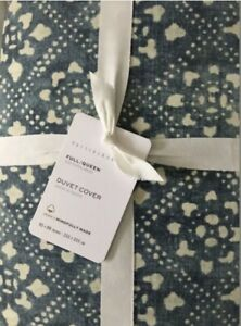 Pottery Barn Leada print percale patterned Full Queen duvet blue multi New