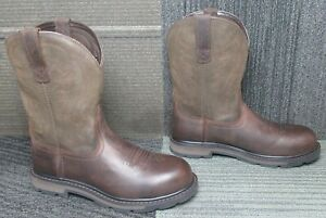 Mens ARIAT Groundbreaker Pull On Steel Toe Leather Work Boots 9 D ~ Excellent