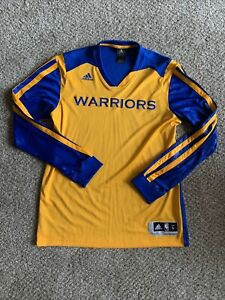 GOLDEN STATE WARRIORS LONG SLEEVE PULLOVER Adidas LARGE NBA SHOOTING SHIRT