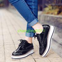 Fashion Womens Brogues Oxfords Flat Platform Creeper Lace Up Retro Wingtip Shoes