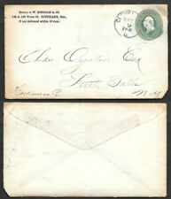 1875 Postal Stationery Cover - Cleveland, Ohio - Blue Duplex Postmark