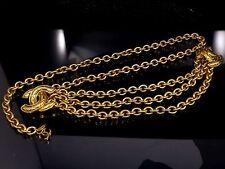 100% Authentic CHANEL Popular Triple Chain Belt Coco Mark CC Logo Charm R296