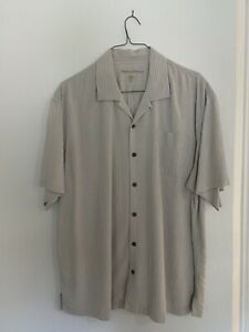 TOMMY BAHAMA Gray And White Textured 2XL Short Sleeve Button Up
