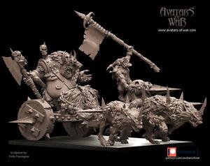 Avatars Of War 3D Printed miniature Seigneur fléau des hommes sur char à loups