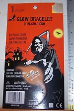 NIP Light Halloween SKULL & GROSS BONES Orange Glow Stick Bracelet