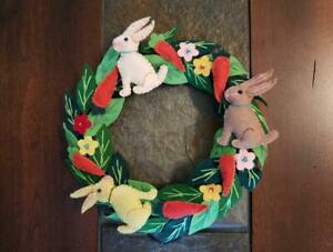 """Hand made 8.5"""" EASTER Candle Ring small Wreath Wool Flannel Carrot RABBIT Bunny"""