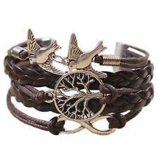 Damen Baum des Lebens Armband Geflochten Seil Leder Lederarmband Mode Neu