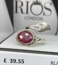 Ruby Facet Cut 925 Ring Sterling Silver Gemstone Leaf Adjustable Gift Boxed