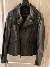 NEW $2450 JIL SANDER Black Green Biker Moto Leather Jacket SMALL S EURO 46 Men