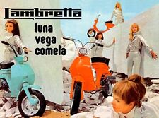 VINTAGE MOD GIRLS 1960'S LAMBRETTA SCOOTERS POSTER A3 RE PRINT
