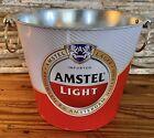 "Amstel Light Beer Ice Bucket 5 Qt Galvanized 7 1/4"" Tall"