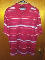 Nike Tiger Woods Collection Dri-Fit Golf Shirt Polo Mens Large Red Striped