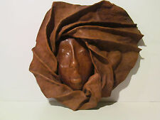 Handcrafted Sculpted Leather Woman Face Mask Wall Art Hanging (13 x 12)