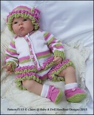 "BABYDOLL HANDKNIT DESIGNS KNITTING PATTERN COLOURED SET F115 16-22"" DOLL/0-3M"