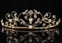 PEARL CLEAR AUSTRIAN RHINESTONE CRYSTAL TIARA CROWN BRIDAL WEDDING 01535 GOLD