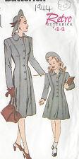 1944 WW2 Vintage Sewing Pattern SIZE:6-8-10-12-14-16 COAT Misses & Child (C70)